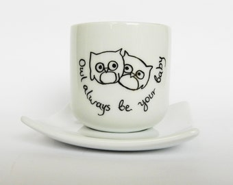 Valentine Cute owl couple, hand painted white porcelain espresso coffee set with cup and saucer funny gift for mom