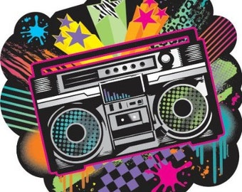 Totally Awesome 80s Banner, Boom Box Cut Out, 80s Theme Party banner, I love the 80s, 80s buttons, 80s party decorations, 80s birthday