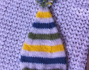 Newborn boy blue, white, yellow, and green photo prop knitted short stocking hat - IN STOCK