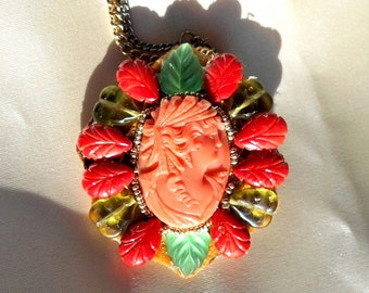 SALE Antique Coral Hand Carved Orange Pink Cameo Brooch Pendant of Ceres, Demeter,The Goddess of the Harvest, Carved Coral Flowers, Leaves.