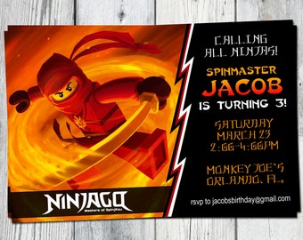 Ninjago Birthday Party Invitation: Printable Custom Invite Red Orange YOU PRINT. Matching Party Printables, other Invitations Available