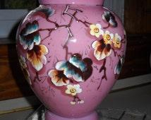 "Cream & Rose Pink Cased Glass Vase, 7 1/2"",  Infused flowers, Raised Relief"