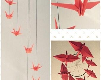 Red Spiral Origami Crane Mobile