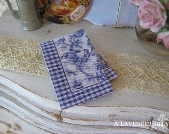 Blue Gingham Toile Kitchen Towel for 1:12 scale Dollhouse Miniature