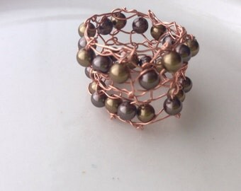 Copper Beaded Statement Ring Brown Pearls  Knitted Wire Rose Gold