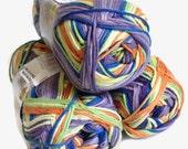 rainbow yarn,  knitting yarn, fashion yarn, Each skein: 100 gr