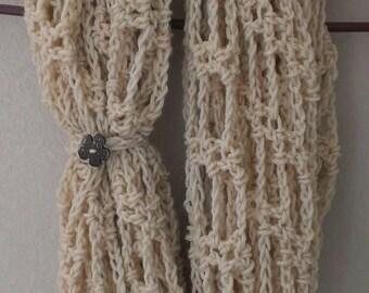 FREE SHIPPING - Crochet Chunky Infinity Scarf - Crochet Wrap - Crochet Circle Scarf - Crochet Cowl-Neck Warmer - Button Closure