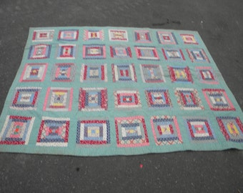 vintage antique 1930s or so busy log cabin HAND SEWN large pennsylvania pa QUILT blanket