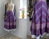 Vintage Skirt Folk Hippy Boho Country Prairie Mid Lenght HIgh waisted Skirt Medium Lace German folk