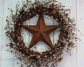 Primitive Americana Wreath - Rusty Star Wreath - Americana Home Decor - Rusty Star Pip Berry Wreath - Memorial Day - Mother's Day Gift