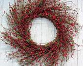 Winter Wreath - Home Decor - Red Berry Wreath - Valentine Wreath - Holidays - Holiday Decor - Storm Door Wreath - Cabin Decor - Wreaths