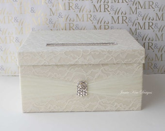 Laced Wedding Card Box, Custom Card Box, Money Box