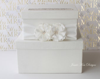 REAYDY TO SHIP Wedding Card Box  Money Box Gift Card Holder - Rhinestones around the card slot