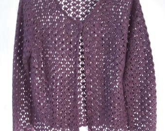 Vintage Crocheted Purple Sweater ~ Button Front ~ Boho Chic