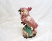 PRICE CUT Large California Pottery Pink Cockatoo Figurine