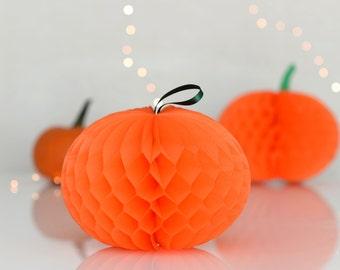 Halloween decoration - paper honeycomb pumpkin - Pumpkin decorations - fall decor- paper pumpkin