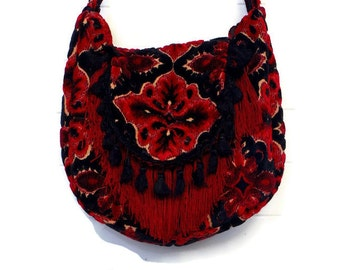 Gothic Bag Purse Handbag Antique Black and Red Cut Chenille with Fringe and Vintage Velvet