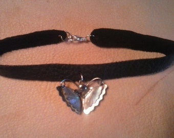 Ladies Black Premium Leather Anklet - Vintage Mother of Pearl-Sterling Silver Butterfly Pendant - Made in America - Elusive Wolf