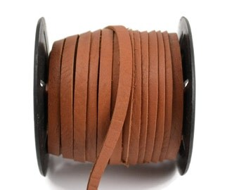 5mm Flat Leather Cord - Light Brown - Deertan Lace Water Resistant - 9 Feet