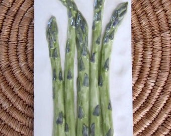 Handpainted Asparagus Ceramic Tile -- 4x8 Culinary Series tile, kitchen backsplash. For installation. restaurant decor