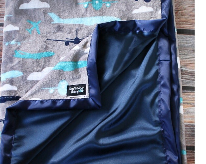 Baby Minky, Airplane Blanket, Airplane Minky, Aviator Minky, Boy Minky, Baby boy blanket, Planes Trains and Automobiles