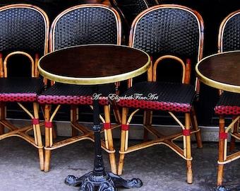 Paris Art, Paris Print, Cafe Art, Black & White, Red, Bistro, Kitchen Art, Food Photography, Parisian, Table and Chairs, Paris Home Decor