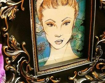 Framed Vintage Retro Beauty Pin Up Girl Drawing Elegant Detail Filigree Glamour Gift