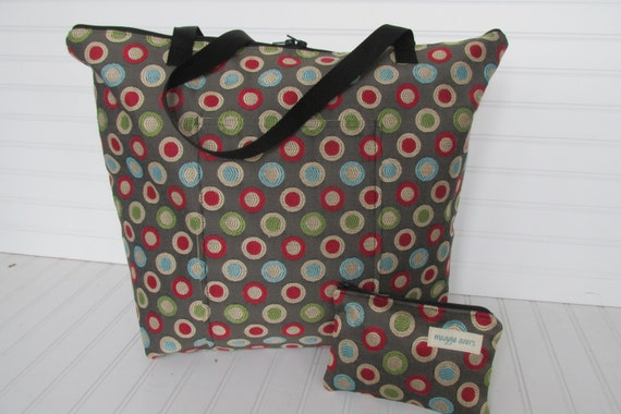 Weekender PLUS Cosmetic Bag in 60's Modern Decorator Fabric  Travel Set   XL Tote Bag Carry On Bag