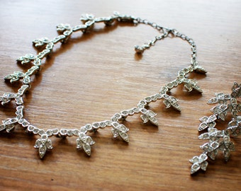 Vintage Silver & Rhinestone Necklace and Earring Set