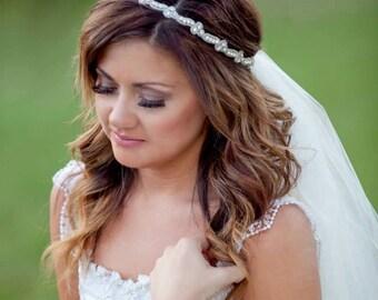 Skinny Diamond Wedding Headband, Thin Diamond Bridal Headband on White Ivory Ribbon - Rhinestone Trio - Style HB621