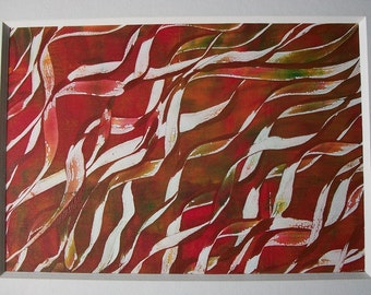 Red Twists Original Monoprint Abstract Acrylic Painting 5x7 Brown White Curls Twists Hair Ribbon