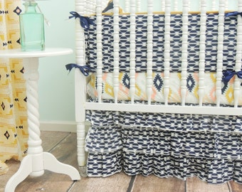 Aztec Themed Crib Bedding in Mint, Peach, Gold, and Navy Blue, Navy Crib Skirt, Navy Baby Bumpers, Navy Peach Coral Bedding