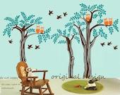 Owls in woodland with birds - Vinyl Wall Sticker Decal art kids Nursery