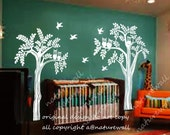 owl tree wall decals wall sticker kids wall art Baby Nursery decals wall murals graphicwall art wall decor-olws and birds in the forest