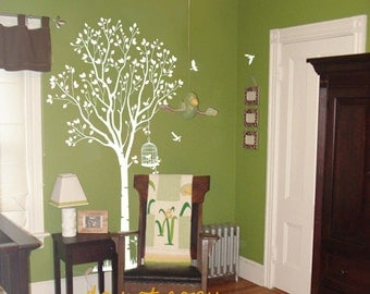 Tree wall stickers wall decals Kids wall art  baby decal nursery decal room decor wall decor murals graphic- tree with birds