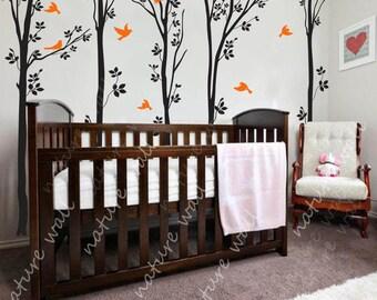 Forest  Decals nursery decals Kids wall decals baby decal  room decor wall decor wall art forest decals-birds in  forest