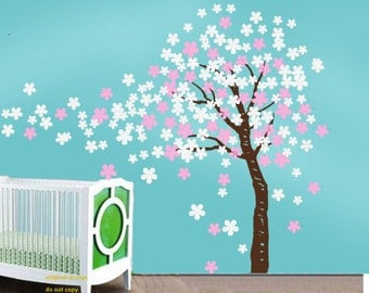 Cherry blossom wall decal kids wall art baby nursery wall decalgirl room decor - Trailing Cherry Blossom Tree with birds