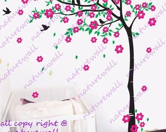 wall decals Cherry blossom  tree decals baby nursery kids room decor pink white nature girl wall decor wall art- Cherry Blossom Tree