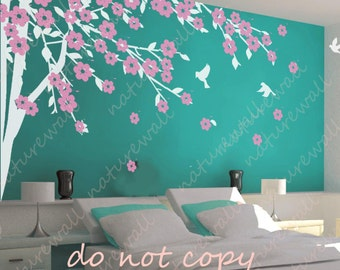 cherry blossom wall decals tree decals baby nursery kids room decor pink white girl wall decor wall art- Cherry Blossom Tree with birds