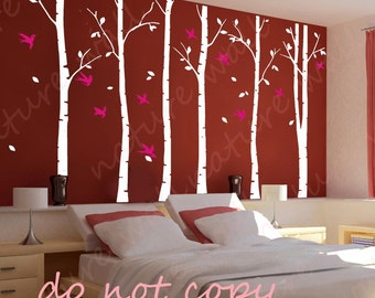 Tree Decals forest decals Kids wall decals baby decal nursery decal white  room decor wall decor wall art birch decals-birds in Birch forest