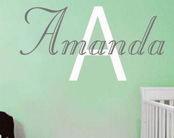 Vinyl Wall Decal -Childrens Wall Decal -Nursery Wall Decal -baby monogram name decal--Girls Name decals-Personalized