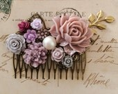 Romantic Wedding Hair Comb Mauve Lilac Burgundy Champagne Ivory Soft Dusty Pink Blush Flower Comb Bridal Floral Headpiece Autumn Fall PM WR