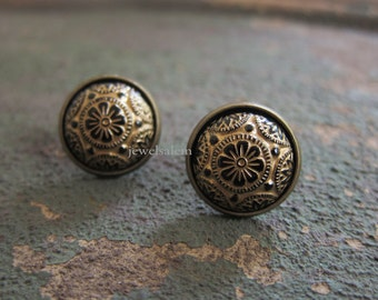 Gold Black Earrings Studs Jewelry Gift Exotic Vintage Glass Tile Spanish Mosaic Mexican Aztec Statement Vintage Antique Brass T1