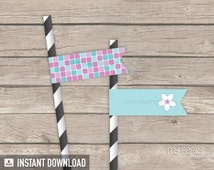 Spa Party - Straw Flags - Pink and Turquoise - INSTANT DOWNLOAD - Printable PDF