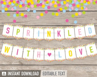 Baby Sprinkle Banner - Baby Shower - INSTANT DOWNLOAD - Printable PDF with Editable Text (BB01)