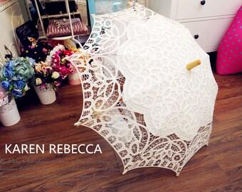 New Pattern Battenburg Lace Vintage Umbrella Parasol For Bridal Bridesmaid Wedding