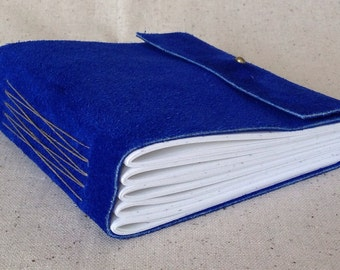 Electric blue, suede journal with blank white pages