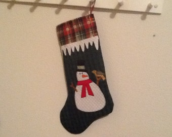 Christmas stocking with snowman applique