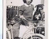 1947 Noel n Glasses w new BIRTHDAY Bike bicycle & Mickey the Weiner ish dachshund Dog vintage PHOTO photograph