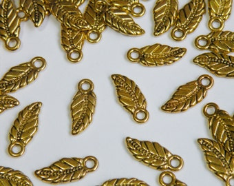 10 Leaf Charms antique gold autumn leaves 17x7mm PGLF0225Y